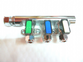 three 3 way gas tap manifold 10mm / 8mm with olives